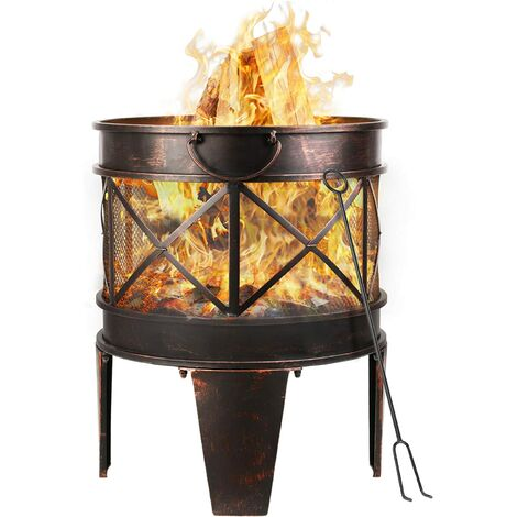 """main image of """"Bamny BBQ Fire Pit with Grill, 17inch Metal Mesh Heater Fire Brazier, 4-Leg Fire Basket with Metal Frame/BBQ&Charcoal Grill/Handles/Poker for Garden, Camping & Patio[φ45cm x58cm]"""""""
