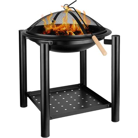 Bamny BBQ Fire Pit with Grill, Metal Heater Fire Brazier, 4-Leg Fire Basket with Metal Frame/BBQ&Charcoal Grill/Mesh Lid/Grill Handles/Poker/Logs Shelf for Garden, Camping & Patio[φ54.5cm x70cm]
