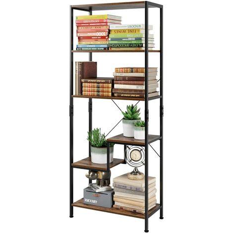 Bamny Bookcase Industrial Storage Shelf Stair Living Room Office Books Display Wood Metal Frame 63x30x158.5cm
