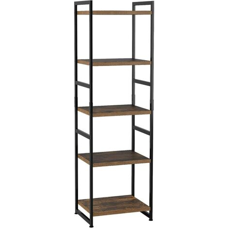 Bamny Bookshelf, 5-Layer Industrial Stable Bookcase, Storage Rack, Standing Shelf, Easy Assembly, Living Room, Bedroom, Office, Rustic ,Grey