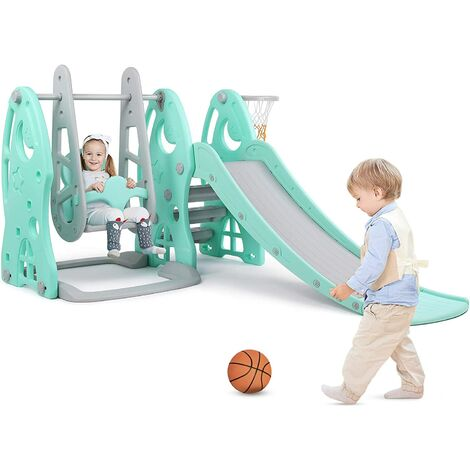 """main image of """"BAMNY Children's Slide with Swing and Basketball Rim Children Playground Set for Indoor and Outdoor (Up to 25Kg)"""""""
