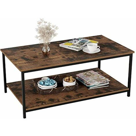 Bamny Coffee Table Industrial Side Table Living Room Table with Metal Frame for Home Office 108x52x45cm