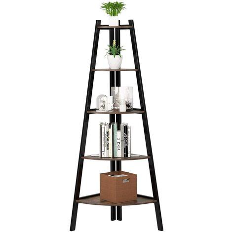 Bamny Corner Shelving 5 Tier Industrial Storage Shelf Ladder Bookcase Plant Stand for Living