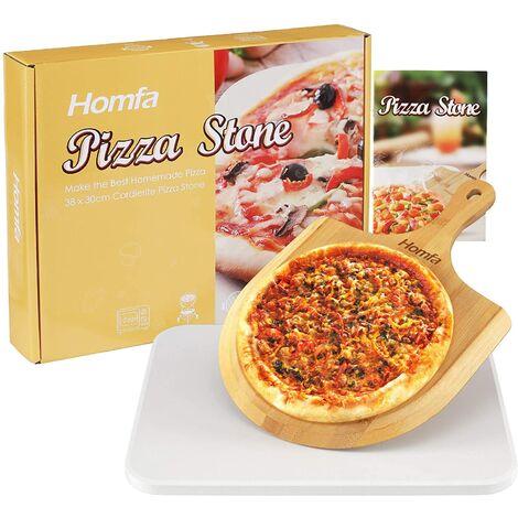 BAMNY Ensemble de pierres à pizza Cordiérite pour four ou barbecue, Pelle à pizza en bambou, Planche de charcuterie Spatule à pizza Peel - Faire une base de pizza italienne | Plaque de cuisson pour barbecue | Pain de cuisson, 28,2 x 39,5 x 1 cm