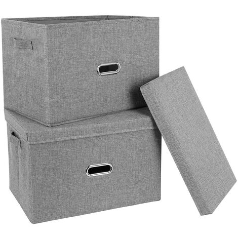 Bamny Fabric Storage Boxes Set of 2 Foldable Wardrobe Organiser Storage Cubes Bins with Lid Handles Grey 44.5x29x29.5cm