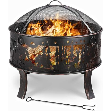 """main image of """"Bamny Fire Bowl, 27 Inch Fire Pit, Fire Basket with Spark Protection Grid, Poker & Charcoal Grate, for Heating/BBQ, Fire Bowls for Garden, Beach, Patio, Great Gift( Flower Grass Pattern)71x71x65cm"""""""