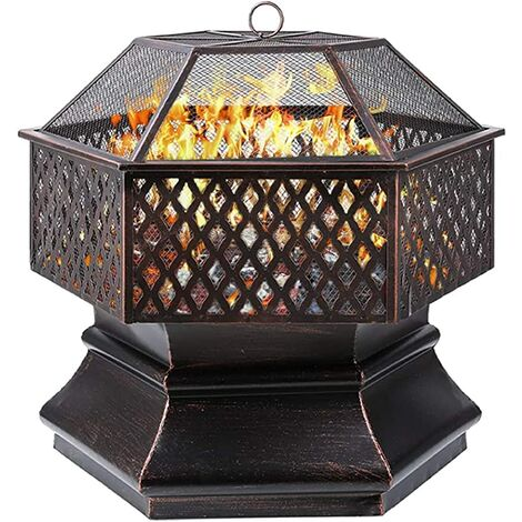 Bamny Fire Bowl,Hexagonal Fire Pit, Garden, Fire Basket with Grill Grate, Spark Guard Grate, Poker & Charcoal Grate, for Heating/BBQ, Fire Bowls for the Garden, Beach, Patio 76 x 76 x 63 cm (30 Inch)