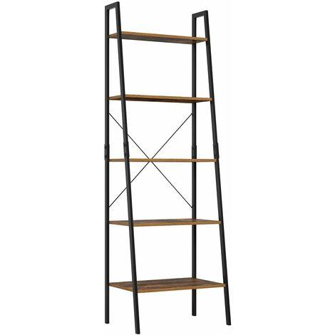 "main image of ""Bamny Ladder Bookshelf Shelving Unit 5 Tier Bookcase Plant Stand Leaning Shelves Storage Rack Metal Frame 56x38.5x171cm"""