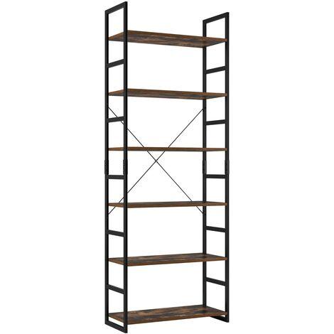 Bamny Ladder Shelf 6-Tier Bookshelf Industrial Bookcase Storage Rack Shelving Unit Plant Stand with Metal Frame 70x30x194.5cm