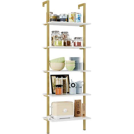 """main image of """"Bamny Ladder Shelves Wall Shelf Modern Bookshelf Storage Rack 5 Tier Shelving Unit Bookcase for Home and Office (Golden+White)"""""""