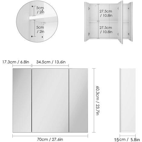 Bamny mirror cabinet wall mirror bathroom mirror hanging cabinet with 3 mirror doors wood white 70x15x60cm