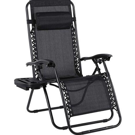 Bamny Outdoor Folding Garden Chair Beach Sun Patio Zero Gravity Pool Lawn Sun Lounger black