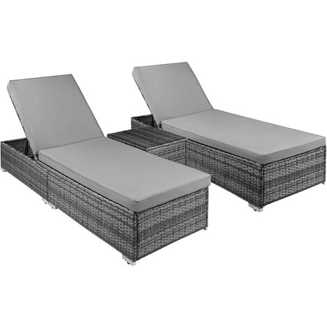 """main image of """"Bamny Rattan Sun Loungers, 3 Piece Rattan Recliner Chaise Lounge Set, 5 Adjustable Backrest, 8cm Cushions, Coffee Table, Sun Bed Lounger For Garden, Patio, Poolside Outdoor"""""""