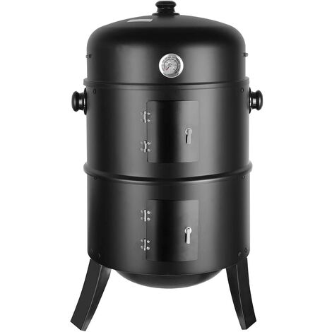 Bamny Smoker Barbecue 3 in 1 Multi-Function Charcoal Barbecue with Thermometer Included with Hooks, 3 Large Capacity Grills for Outdoor Cooking Parties, 80 x 44.5 x 44.5 cm 16 inches