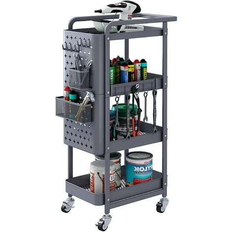 Bamny Trolley Cart 4 Tiers Rolling Cart Mobile Storage Rack Service Trolley Utility Cart with 2 Storage Bins, 7 Removable Hooks and 2 Pegboards 30x45x103cm Grey