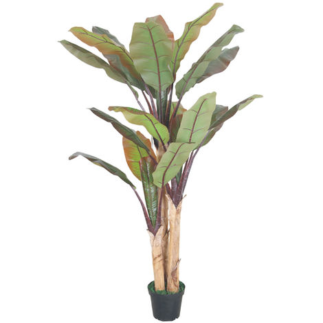 Bananenbaum Bananenstaude Kunstpflanze Künstliche Pflanze Echtholz 200cm Decovego