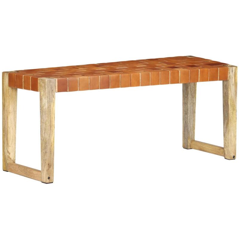 Banc 110 cm Marron Cuir veritable et bois de manguier massif