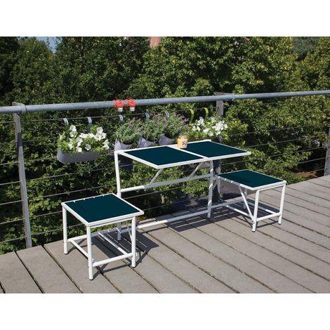 Banc 2 Places Convertible En Tables Et Tabourets Bleu Bl067