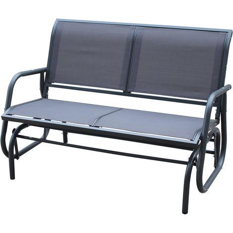 Banc à balancier - 2 places - assise en textilène - gris
