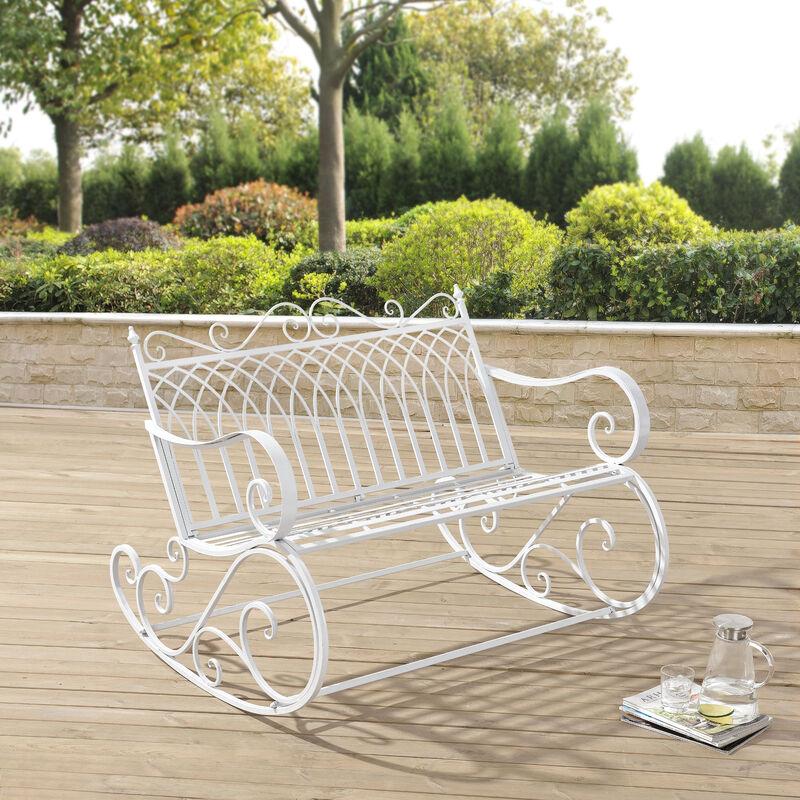 Banc à Bascule de Jardin Vintage Robuste Meuble Design pour Usage Extérieur pour 2 Personnes Capacité de Charge 200 kg Métal 85 x 113 x 95 cm Blanc
