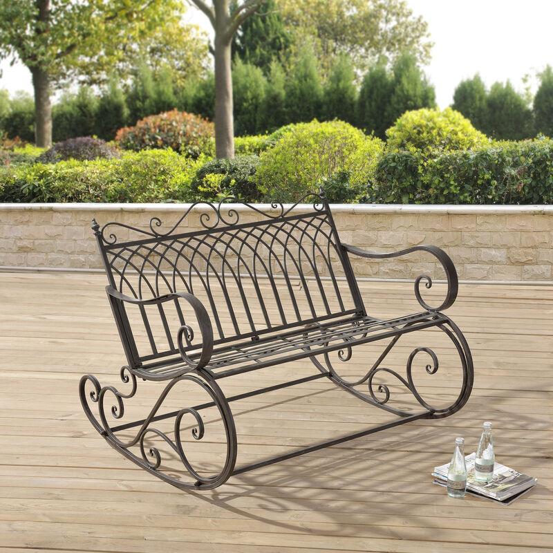 Banc à Bascule de Jardin Vintage Robuste Meuble Design pour Usage Extérieur pour 2 Personnes Capacité de Charge 200 kg Métal 85 x 113 x 95 cm Vert