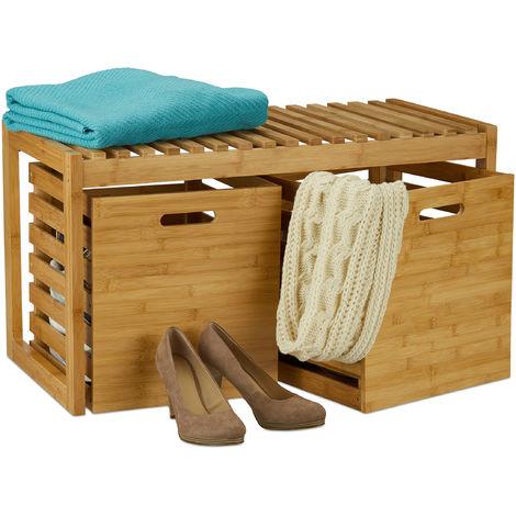 Banc à chaussures, 2 boîtes de rangement, Banquette, Meuble entrée, couloir, bambou, HLP 44,5x80x40 cm, nature