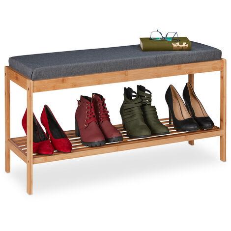 Banc à chaussures en bambou, étagère à souliers avec siège, 48 x 90 x 29,5 cm, rembourrée, nature/gris