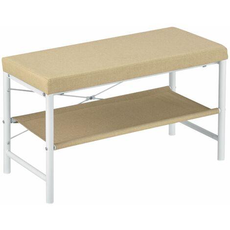 Banc à chaussures meuble d'entrée métal housse siège en toile 72 cm blanc beige - Beige
