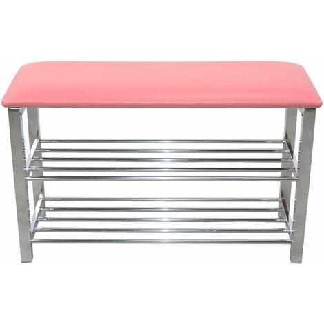 Banc / banquette 80 cm assise rembourrée rose avec étagère pour chaussures - Rose