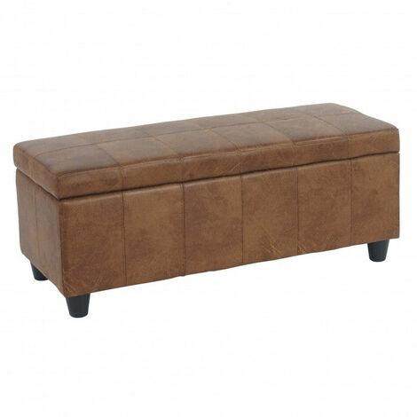 Banc banquette coffre de rangement similicuir marron vieilli 112x45x45cm - marron