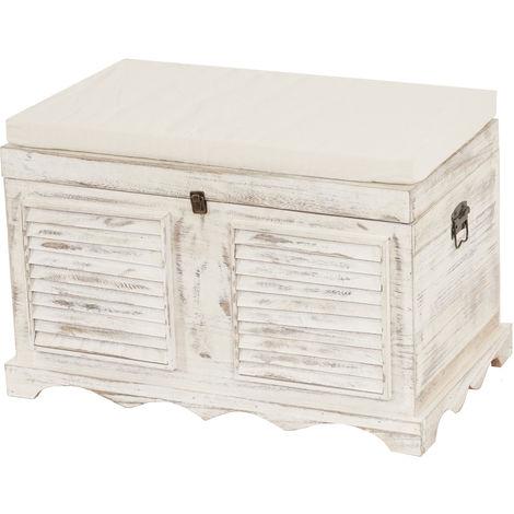 Banc banquette / coffre de rangement T356, style shabby 50x76x45cm ~ blanc