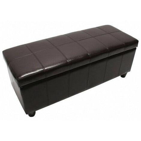 Banc banquette de rangement cuir reconstitué marron 112x45x45cm - marron