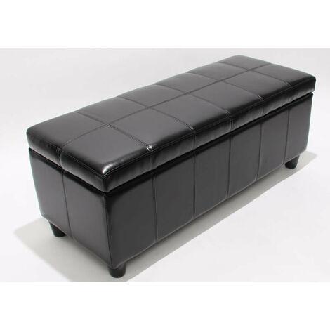 Banc banquette de rangement cuir reconstitué noir 112x45x45cm - noir