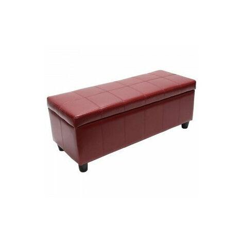 Banc banquette de rangement cuir reconstitué rouge 112x45x45cm - rougeed