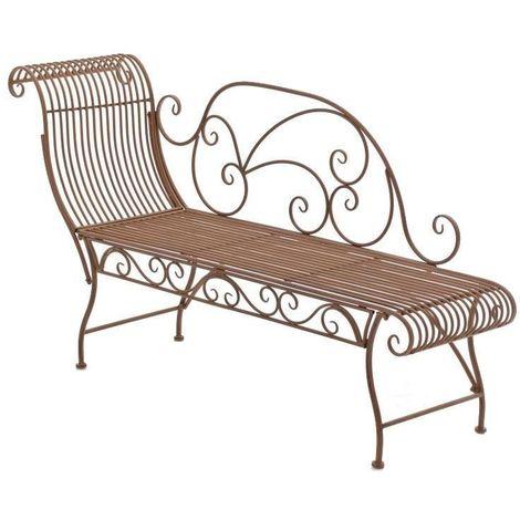 Banc banquette design en fer forgé laqué marron vieilli 156x46 cm