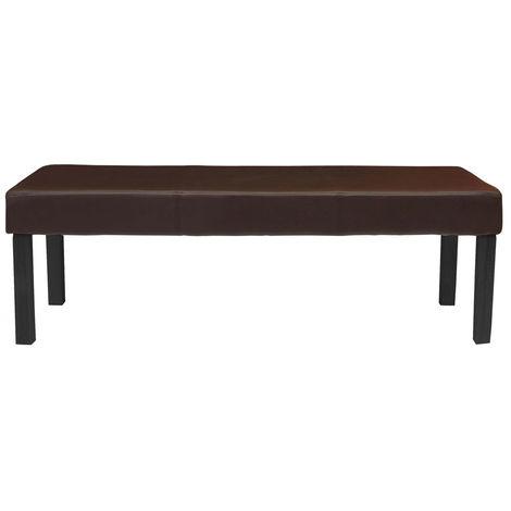 Banc banquette M37, simili-cuir mat, marron/pieds foncés, 120x49x43cm