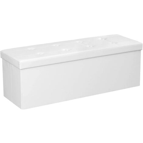 Banc banquette pour coffre de rangement 150 litres blanc - Blanc