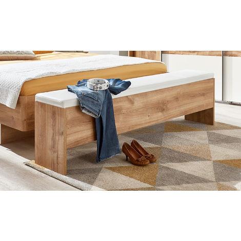 Banc bout de lit en panneaux de particules et polyuréthane, chêne/blanc - Dim : 185 x 48 x 33cm -PEGANE-