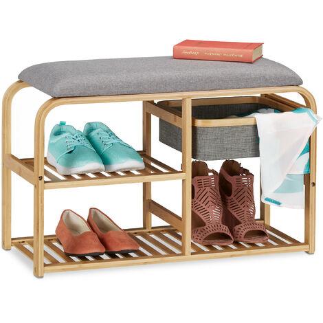 Banc chaussures siège, rembourré, entrée et garde robe, meuble étroit en bambou HxlxP 45x69x30 cm, gris/nature