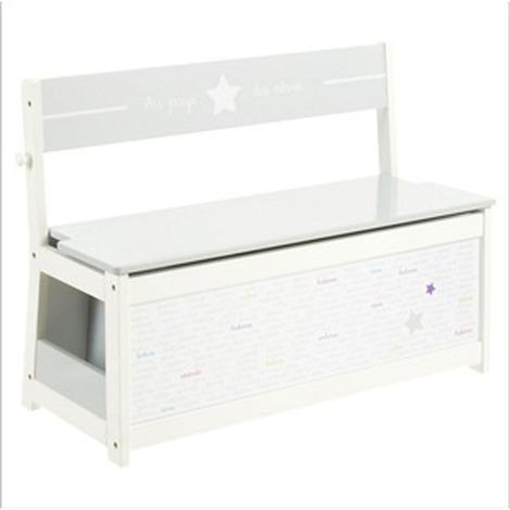 Banc-coffre à jouets pour enfants en bois MDF coloris blanc - Dim : L 78 x L 33 x H 56 cm