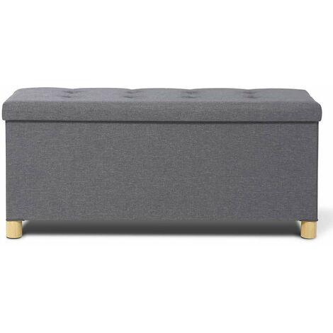 Banc coffre capitonné gris 76 cm