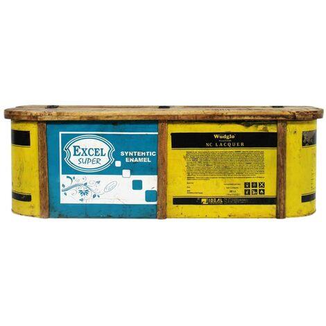 Banc coffre coloré bois et métal recyclé - Bois