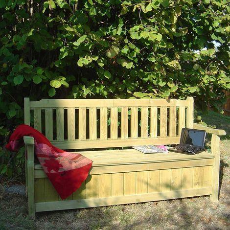 Banc coffre de jardin 3 places en bois - Coffre de jardin bois ...