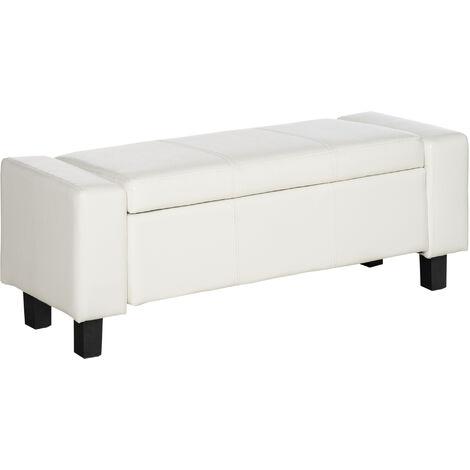 Banc coffre de rangement 2 en 1 revêtement synthétique capitonné 106L x 40l x 40H cm blanc