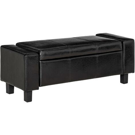 Banc coffre de rangement 2 en 1 simili cuir capitonné 106L x 40l x 40H cm noir