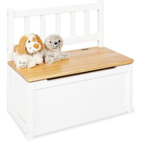 Banc coffre de rangement jouet pour enfants en bois de pin laqué blanc - blante