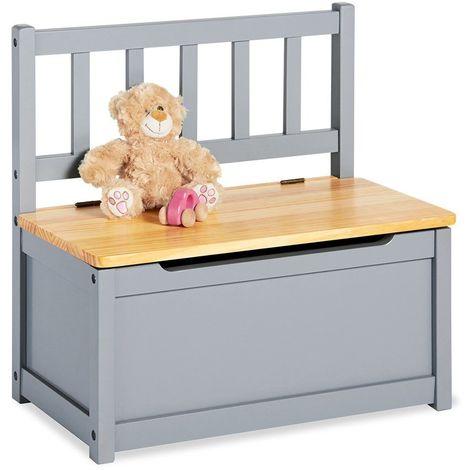Banc coffre de rangement jouet pour enfants en bois de pin laqué gris - gris