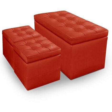 Banc Coffre Panky + 2 poufs Rouge - Rouge