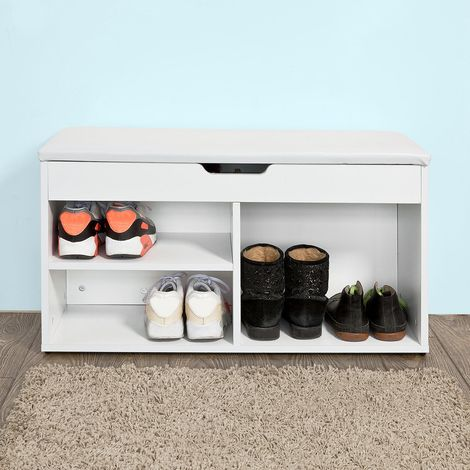 Banc Commode à Bottes Chaussures avec Coussin Rembourré Meuble d'Entrée- Blanc FSR27-W SoBuy®
