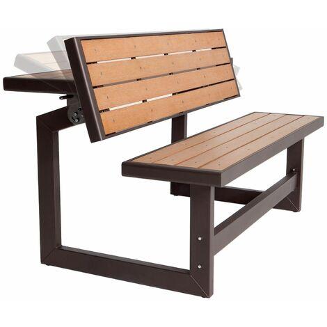 BANC CONVERTIBLE EN TABLE PIQUE NIQUE - LIFETIME 141 cm / 2-4 personnes Polystyrène haute densité extrudé - Str. acier thermo-laqué Traitement Anti UV